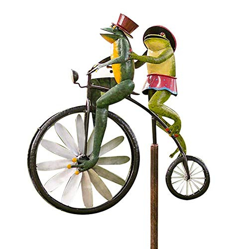 Animal en bicicleta Frog Yard Vintage bicicleta molino de viento jardín estaca viento Spinner Deco, Frog Wind Spinners para patio y jardín