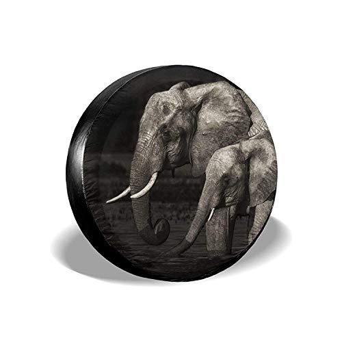 MODORSAN Elephant Black - Funda Universal para neumáticos de Repuesto, Protectores de neumáticos Personalizados a Prueba de Polvo, Impermeables, para Jeep, remolques, RV, SUV y Camiones, 17 Pulgadas