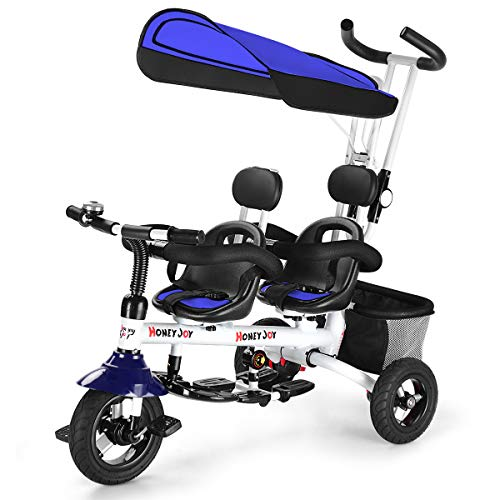 HONEY JOY Kids Tricycle, Twins Baby Trike w/Removable Canopy &Guardrail, Adjustable Parent Push Handle, Double Brake Rear Wheels, Retractable Foot Pedal,Foldable Steer Stroller Bike for Girl Boy(Blue)