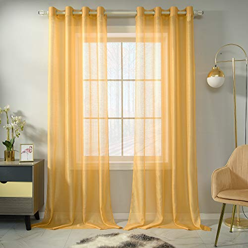 Amber Yellow Sheer Curtains 95 Inch Length Set 2 Panels For Living Room Translucent Voile Sheer Drapes Solid Elegant Grommet Yellow Textured Sheer Curtains For Dining Room Windows 52 X 95 Inches Long