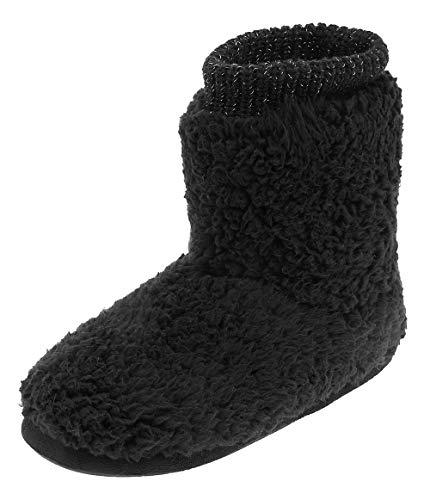 MIXIN Women's Warm Faux Fleece Fuzzy Indoor Outdoor Slipper Boots Shoes (5-6 M US Women, Black)