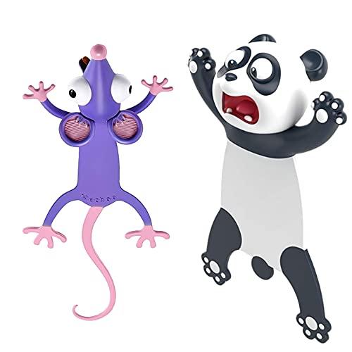 segnalibri animali 2 pezzi,segnalibri bambini,3D Animato Animale Segnalibro,cancelleria per bambini,segnalibri per studenti (A)