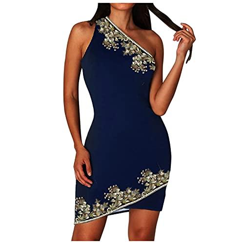 Lalaluka Bodycon Kleid Damen Kleider kurzSexy Eine Schulter Ärmellose Druck Kurz Kleider Cocktailkleider TailliertesKleid Wickelkleid