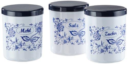 axentia Dekordosen Set, Gewürzdosen Set aus Kunststoff, Gewürzbehälter mit Deckel, Vorratsdosen in Weiß mit blauem Aufdruck, 3-Teiliges Dosen-Set, Dosen mit einem Fassungsvermögen von je ca. 1,1 Liter