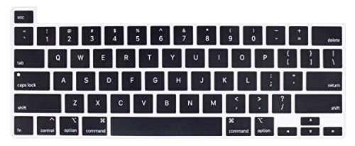 매우 얇은 키보드 커버의 보호자 부드러운 실리콘 피부와 호환되는 맥북 프로 16 인치 터치 바 및 터치 ID A2141 릴리스에서 월 2019 년(블랙)