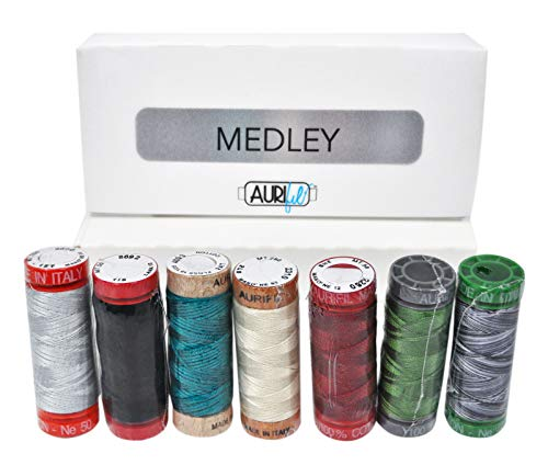 Best Price! Aurifil Thread Set Medley Collection - 7 Small Mixed-Weight Spools