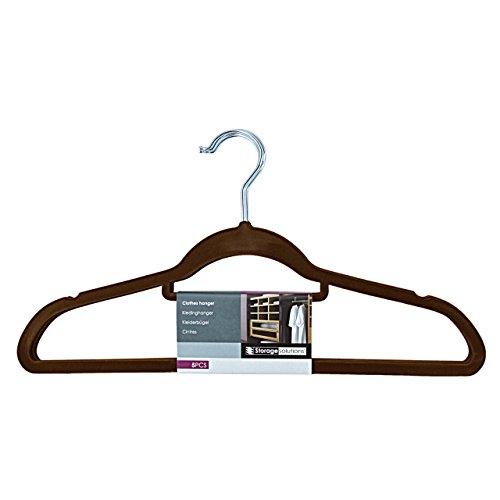 Cintre en velours floqué-lot de 75–avec barre à pantalon-couleur : marron