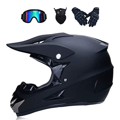 DLPAC Motorcycle Helmet, Adult Youth Off Road Motorcycle Helmet Set with Goggles/Gloves/Helmet Accessories Dirt Bike Mountain Bike Unisex Motorbike Full Face for Men Women DOT Certified