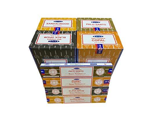 Incienso Satya - Surtido Mumbai- Palo Santo-Copal-BlackOpium-Sandalwood- 4 Cajas x 15g - Total 56 Varillas -