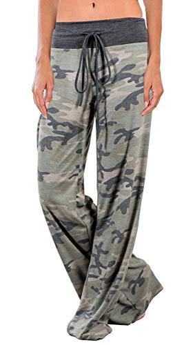 AMiERY Women's Camo Pants Camouflage Pajamas Lounge Pants Women High Waisted Wide Leg Palazzo Pants Camo S