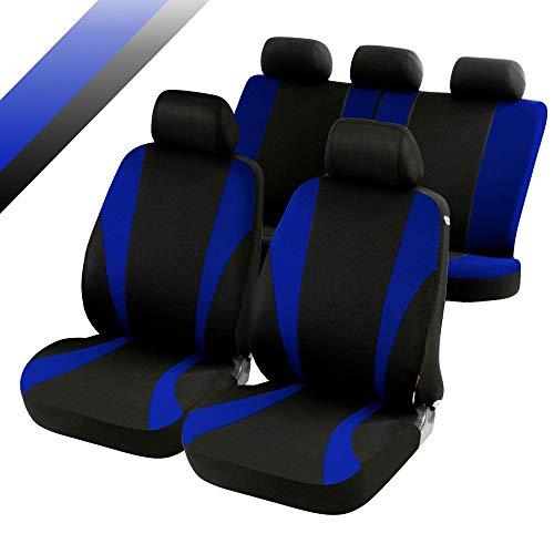 rmg-distribuzione Coprisedili compatibili per X-Trail Versione (2014 - in Poi) compatibili con sedili con airbag, bracciolo Laterale, sedili Posteriori sdoppiabili Colore Nero Blu R05S0608