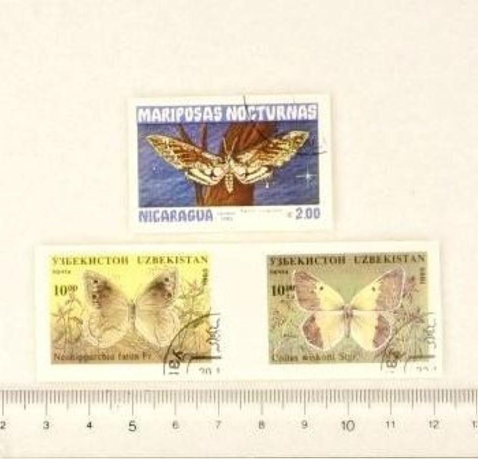 いらいらする結論交換可能【スクラップ ネイルシール】世界切手《蝶?バタフライ》(2)3枚組