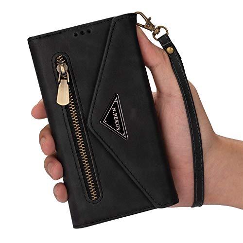 Qjuegad Kompatibel mit Handykette Samsung Galaxy A20S Hülle Leder Handytasche,Schultertasche für Smartphone Handyhülle Reißverschluss Brieftasche Geldbörse mit Kordel Bookstyle Klapphülle,Schwarz