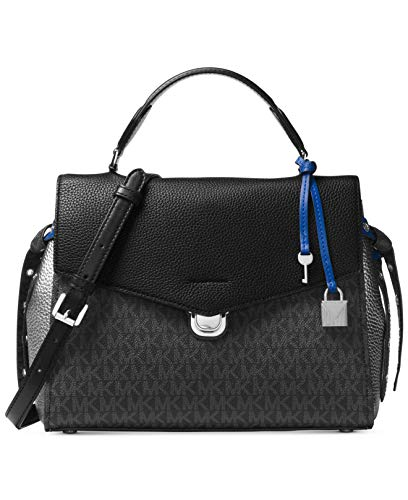 """Black Pebble Leather in a fold-over silhouette and Coated Twill Black Logo . Grommeted side ties Push-Lock Fastening , Shiny rhodium-tone exterior hardware , 1 back snap pocket Handle Drop: 3"""" Adjustable Strap: 16""""-17"""" , Lined Interior with 1 interio..."""
