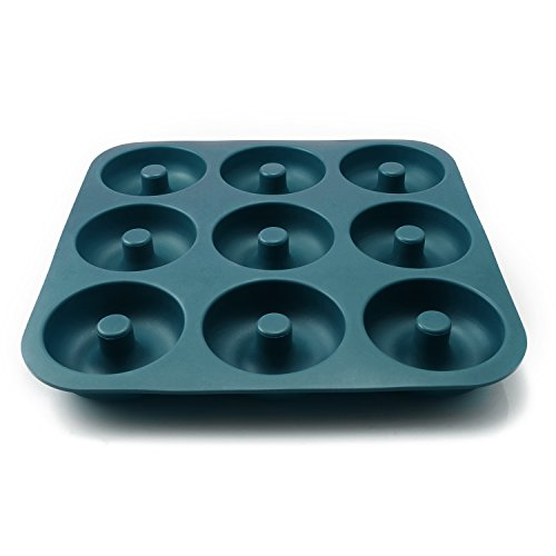 Large Professional Grade Donut Pan for Baking 9 Cavity Non-Stick Bagel Pan Silicone Donut Mold BPA Free 11.2 x 11.1 Inches - FUNLAVIE
