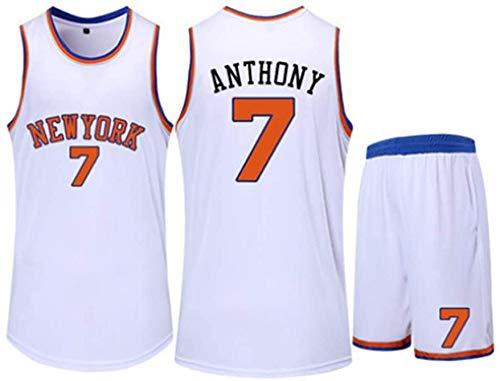 Maglie da Pallacanestro da Uomo Fan Set New York Knicks # 7 Carmelo Anthony - Maglia Sportiva da Basket Canottiera Sportiva Senza Maniche Top Shorts,White-2XS
