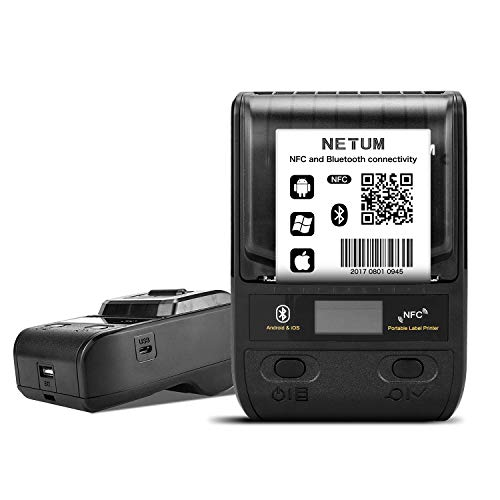 NETUM 58mm Stampante per etichette termiche Bluetooth con batteria ricaricabile, per ufficio, magazzino, spedizione, abbigliamento e gioielli, NT-G5