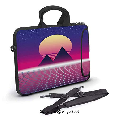17 inch Laptop Shoulder Bags,Synthwave Theme of Pyramids Landscape,Waterproof,Portable,Compatible iPad,MacBook Pro,Air,Surface