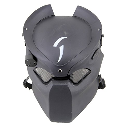Outgeek Outdoor CS Games Costume Mask Ventilate Protective Face Mask with Infrared Lamp for Halloween Masquerade Cosplay