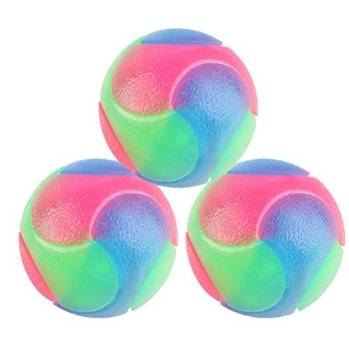 UKCOCO 3pcs Pet palline colorate palle di gomma, luminosi, Puppy gomma palla da tennis, pulizia dei denti Glittery giocattoli, cane masticare durevole palle