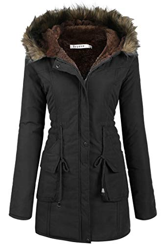 Beyove Womens Hooded Parka Jacket Warm Winter Coat Faux Fur Trim Parkas