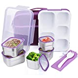 JIM'S STORE Bento Box Edelstahl Design Lunchbox Kinder Kreativ Auslaufsicher Mehrzweck mit Gabel und Tasche, 5 unabhängige Edelstahlboxen +5 Fächer transparente Plastikbox, 1.2L