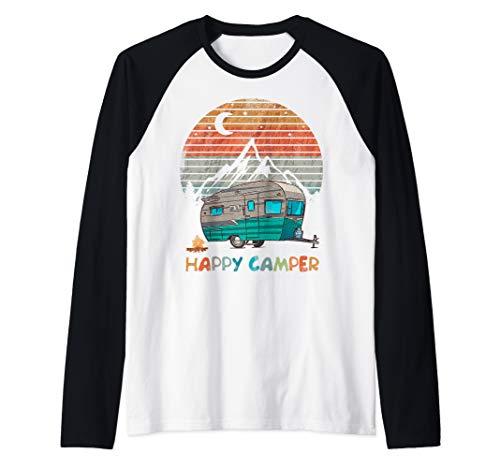 Vintage Camper TShirt Happy Camping Lover Camp Vacation Tee Raglan Baseball Tee