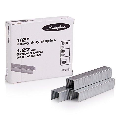 "Swingline Staples, Heavy Duty, 1/2"" Length, 90 Sheet Capacity, 100/Strip, 1000/Box, 1 Pack (35312), Silver"