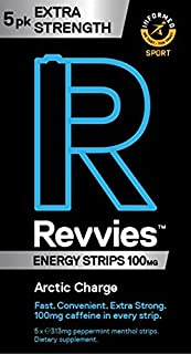Revvies Extra Strength Energy Strips   Arctic Charge   30 Strips   100mg Caffeine Strip   1 Strip = 1.25 x Energy Drink   ...