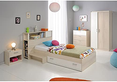 Kinderzimmer 4-teilig grau   Weiß akazie inkl Kommode + Kinderbett Bettkasten + Nachtkommode + Kleiderschrank Jugendzimmer