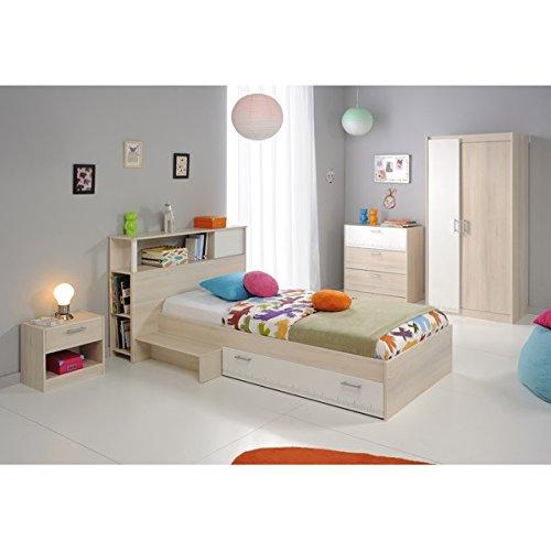 Kinderzimmer 4-teilig grau/weiß akazie inkl Kommode + Kinderbett Bettkasten + Nachtkommode + Kleiderschrank Jugendzimmer
