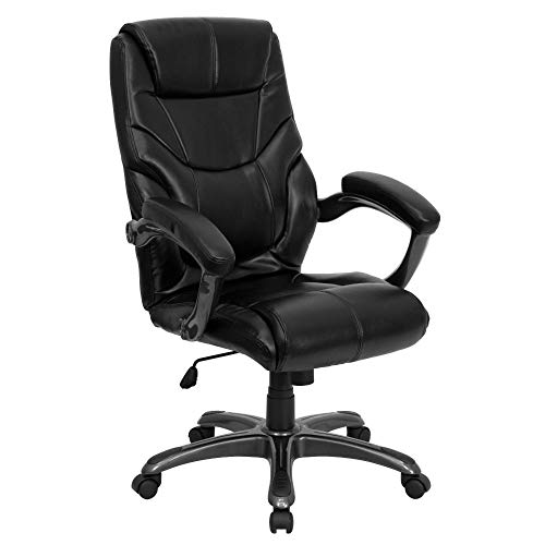 Flash Furniture High Back Black LeatherSoft Overstuffed Executive Swivel Ergonomic Office Chair with Arms