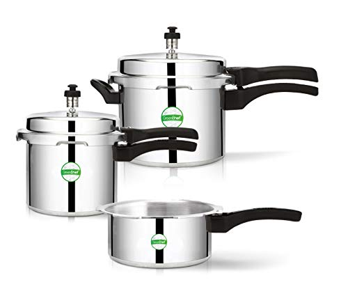 Greenchef Coral Combo Induction Base Pressure Cooker, Aluminium Cooker (2, 3 & 5 L)