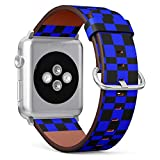 Compatible with Apple Watch (Small 38mm/40mm) Series 1,2,3,4 - Leather Band Bracelet Strap Wristband Replacement - Checkered Tile Black