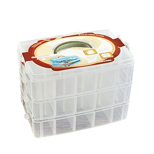 Compia Clear Plastic Craft Beads Jewellery Storage Organizer Compartment Tool Box Case (White)