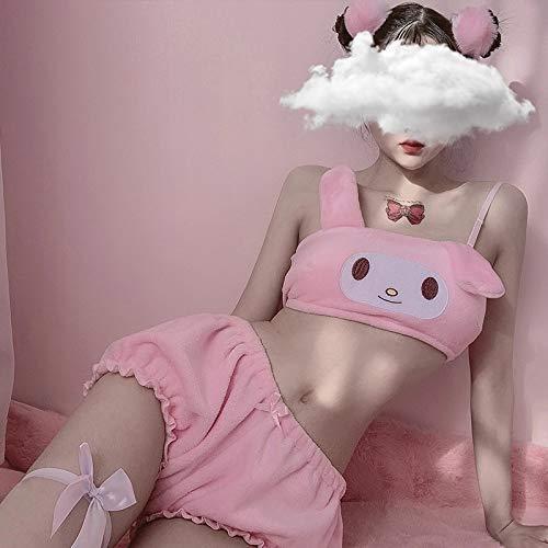 DSGTR Ropa Interior de Encaje Ropa Interior Falda bebé muñeca Ropa Interior Pijamas Ropa Interior Suave Pijamas bebé Sexy Anime Cosplay Disfraz Orejas largas Perro Sujetador y Bombachos Rosa