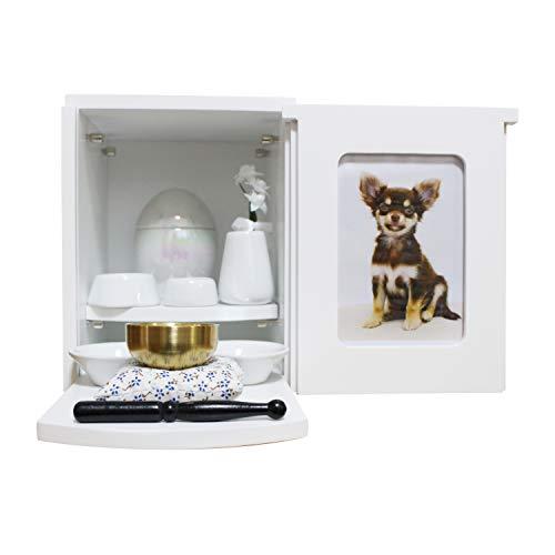 ペット仏壇 メモリアルBOX ホワイト 仏具8点セット(ホワイト)+おりん(こりん) おもいでのあかし 2〜4寸骨壷収納