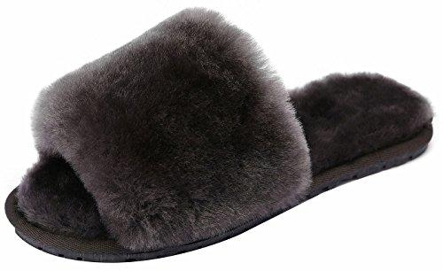 SimpleC Frauen-Dame Winter Fluffy Flip-Flops Pantoletten Haus Fleece Shearling Indoor Spa Hausschuhe Grau39