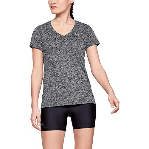 Under Armour Women's Tech V-Neck Twist Short Sleeve T-Shirt, Black (001)/Metallic Silver, Large