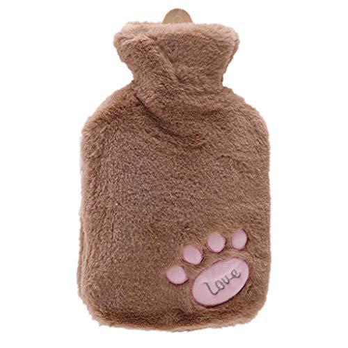 1000ml Carino PVC Warm Water Bag Mano Warmers Fumetto Panno della Peluche Copertura Calda della Bottiglia di Acqua Sacchetto di Acqua iniezione Piedi scaldamani (Color : B)