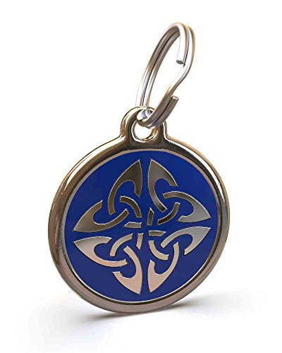 UNLEASHED.DOG Customizable Engraved Dog ID Tag - Stainless Steel with Triquetra Enamel Inlay - Dark Blue | Large