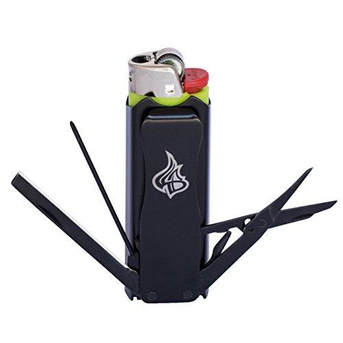 LighterBro - Lighter Sleeve - Multi-tool - Stainless Steel - Stealth - Black