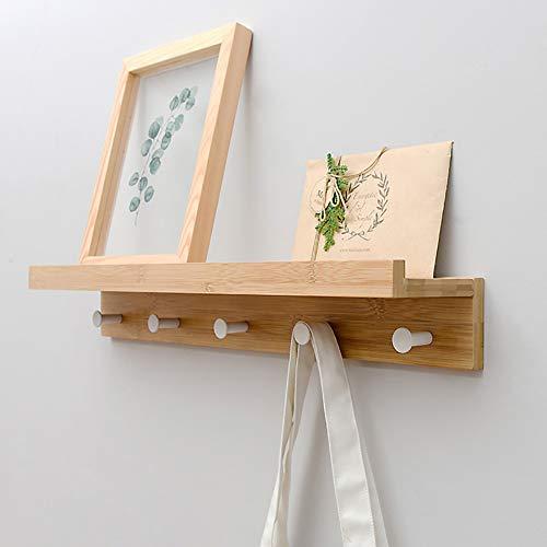 Perchero de pared de bambú con ganchos. Estante superior...