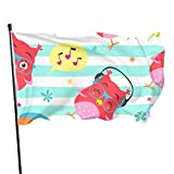 dfgjfgjdfj Drapeaux Garden Flag Personalized Decorative House Flags Cartoon Style Striped Owl Punchy Outdoor Seasonal and Holiday Yard Flag Banner 3x5 Ft