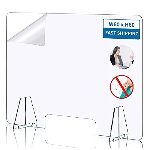 Pantalla Protección Mostrador,4MM Mampara Protectora de Metacrilato Transparente con Ventanillas y Bases para Mostrador y Mesapara Colegios Supermercados Farmacias Tiendas