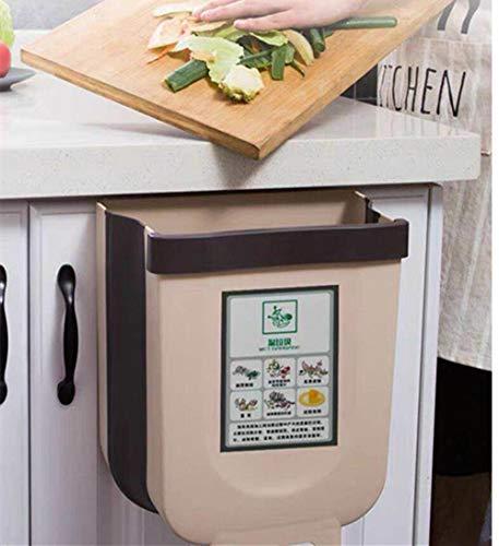 NA Cubos de Basura Plegable Colgando para la Cocina,Basura Plegable Cubo Basura Extraible pequeño y Compacto Contenedor para Organizador de Armario de Cocina (Marrón)