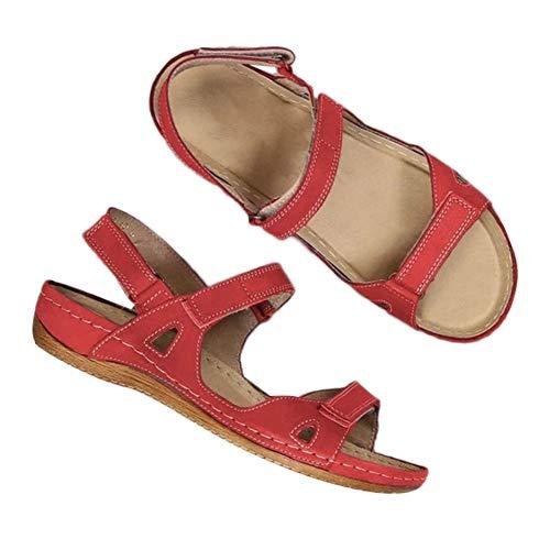 Porfeet Damen Sandalen, Damen Mode Low Wedge Heel Schuhe Peep Toe Verstellbare Doppelriemensandalen rot 37