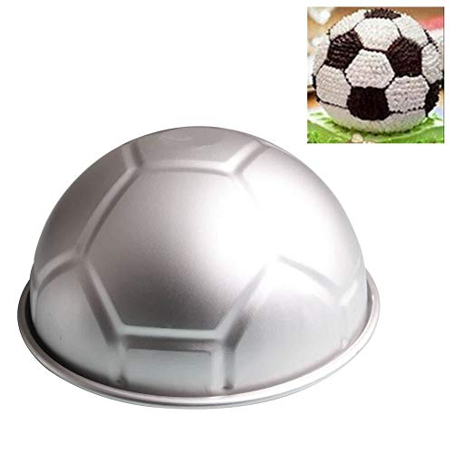 Gaetooely 1 PCS 3D Half Runde Kugelfoermige Fussball Kuchenform 8 Zoll Verdickung Aluminiumlegierung Schimmel Geburtstag Backform