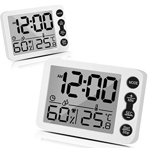 Tooltoo Thermometer Hygrometer 2er-Set Temperatur- und Feuchtigkeitsmesser Raumthermometer Wecker mit LCD-Monitor Magnetische Rückseite Wecker für Babyzimmer, Wohnzimmer, Büro, Gewächshausraum