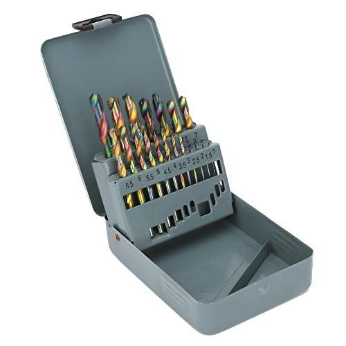 19tlg spiraalboorset, kleurrijk sneldraaistaal cilinderschacht twisted boren set, 1-10 mm met grijze ijzeren box